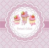 Carta d'epoca con cupcakes — Vettoriale Stock