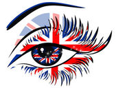 Flags of the Great Britain in beautiful female eye — Stock Vector