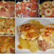 Recipe for grilled meat with pineapple.  Collage of five photos — Stock Photo