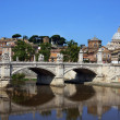View of Saint Peter cathedral and bridge Saint Angel, Rome, Italy — Stock Photo