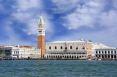 Piazza San Marco with Campanile and Doge Palace seen from the canal, Venice, Italy — Stok fotoğraf