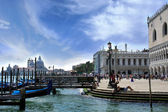 Gondolas at the Doge's Palace, Venice, Italy — Stock Photo