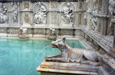 Fountain of Joy - Medieval marble fountain in Siena. Panel of th — Stock Photo