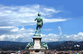 David Statue at Piazzale Michelangelo and panoprama Florence, It — Stock Photo