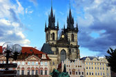 Old Town Square in Prague, Church of our Lady and Jan Hus monument. — Stock Photo