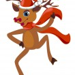 Dancing christmas Reindeer — Stock Vector