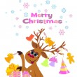 Christmas greeting card whit Reindeer — Vettoriali Stock