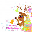 Christmas greeting card whit Reindeer — ベクター素材ストック