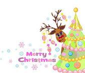 Christmas greeting card whit Reindeer — Vector de stock