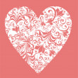 Floral Love Shape. Vector Heart with floral ornament  — Vettoriali Stock