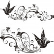 Stock Vector: Vector tattoo hummingbird