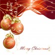 Christmas background with red evening balls — Stockvektor