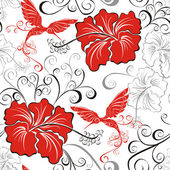 Seamless floral pattern whit hibiscus and hummingbird — Stock Vector