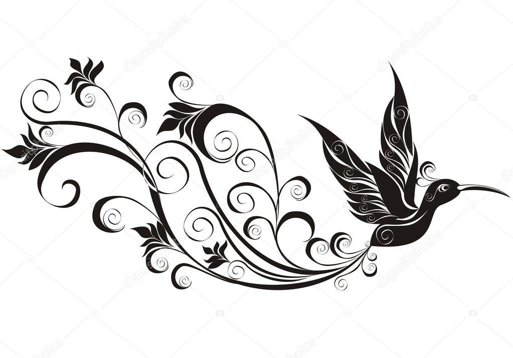 vector tattoo hummingbird stock vector marina99 34853859. Black Bedroom Furniture Sets. Home Design Ideas