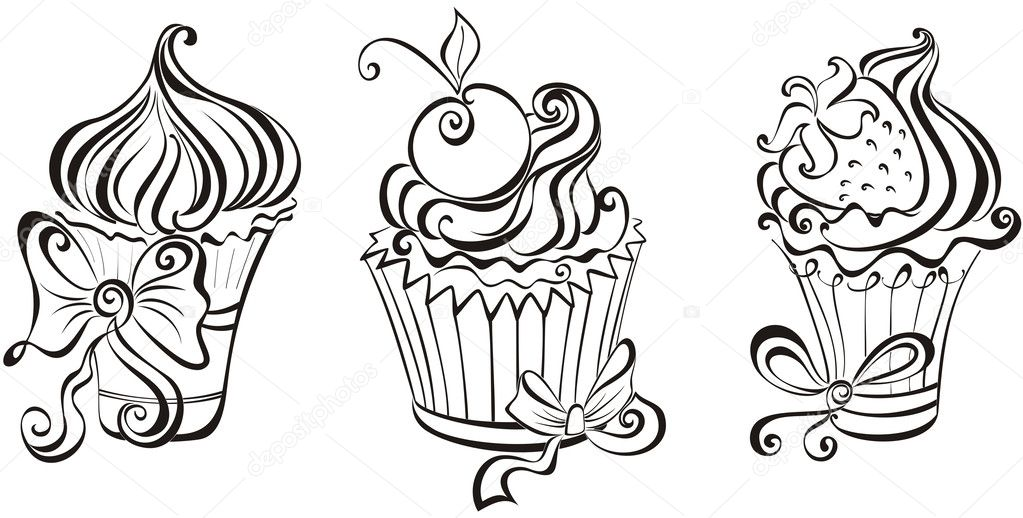 Set de cupcakes — Vector de stock © marina99 #34859277