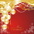 Christmas background with golden evening balls — Stock Vector