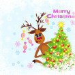 Christmas greeting card whit Reindeer — Imagen vectorial