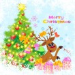 Christmas greeting card whit Reindeer — Image vectorielle