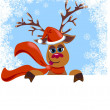Christmas funny Reindeer with blank for your text  — Imagen vectorial
