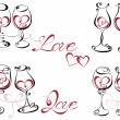 Wine glass with red wine in a heart shape. — Stock vektor