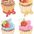 Stock Vector: Set cupcakes isolated on white.