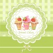 Vintage card with cupcakes — Stock Vector