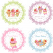 Collection of retro various cupcakes labels — Stock Vector #34866161