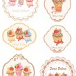 Collection of retro various cupcakes labels — Stock Vector #34866211