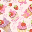 Seamless pattern with cupcakes, strawberry and cherry — Stockvectorbeeld