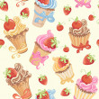 Seamless pattern with cupcakes, strawberry and cherry — Stock Vector #34868017
