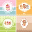 Stock Vector: Set Vintage card with cupcakes