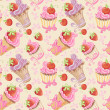 Seamless pattern with cupcakes, strawberry and cherry — Stock Vector #34868199
