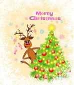 Christmas greeting card whit Reindeer — Stock Vector