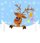 Noël rennes drôle avec blanc pour votre texte — Vecteur