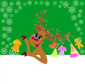 Christmas funny Reindeer with blank for your text — Stock Vector