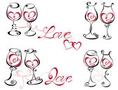 Wine glass with red wine in a heart shape. — Stock Vector