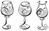 Wine glass with grapevines. Vector wine design elements. — Stock Vector