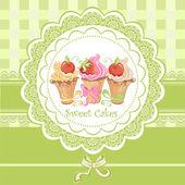 Vintage tarjeta con cupcakes — Vector de stock