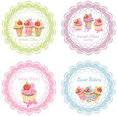 Collection of retro various cupcakes labels — Stock Vector