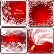 Stock Photo: Set christmas red background