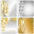 Set christmas golden and silver background  — 图库照片