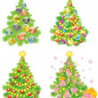 Set Christmas tree isolated on a white  — Image vectorielle