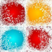 Christmas backgrounds with frozen hearts — Stock Vector