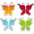 Set of labels with butterflies. Vector butterflies stickers on w — Image vectorielle