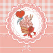 Vintage card with cupcake — Vettoriali Stock