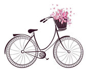Bicycle with a basket full of flowers and butterflies — Stock Vector