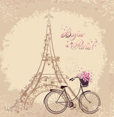 Bonjour Paris text with tower eiffel and bicycle. Romantic postc — Stock Vector