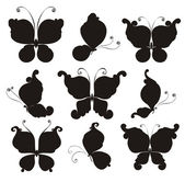Set silhouettes of butterflies — Stock Vector