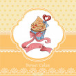 Vintage card with cupcake — Stock Vector #35170071