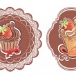 Retro cupcakes labels — Stock Vector
